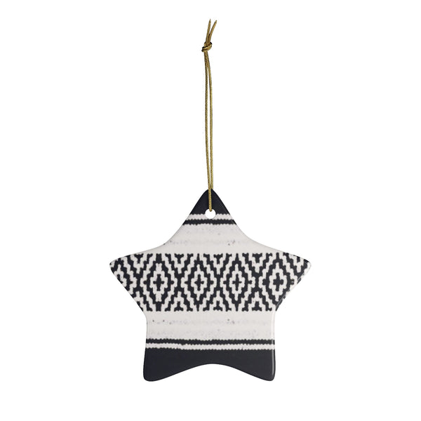 A Black and White Mexican Blanket Inspired Ceramic Ornament