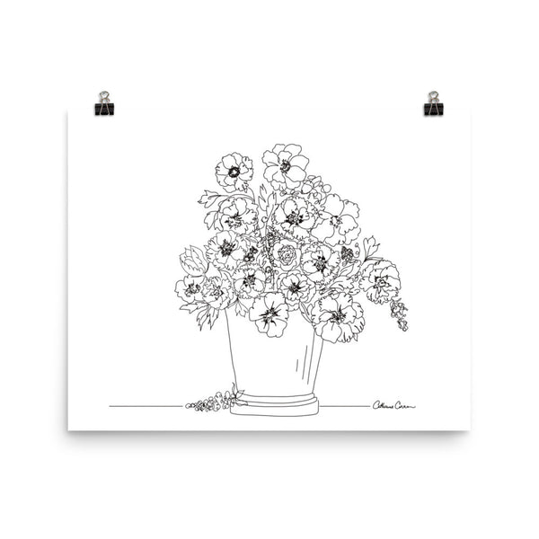 Bunch of Flowers, Illustration by Catherine Cortes, Poster Print - LuluBee+Kewi