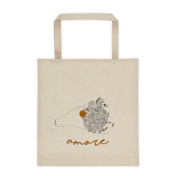 Canvas Tote, Flowers with Amore Illustration, Canvas Tote bag - LuluBee+Kewi