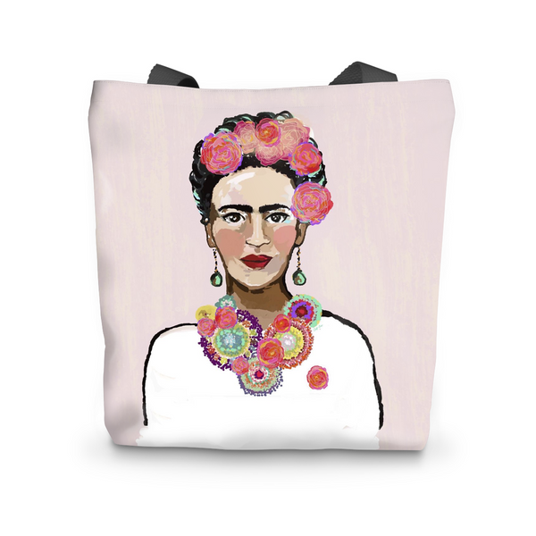 "Canvas Tote, Frida Kahlo Painted Pink Canvas Tote Bag 17""x17"" - LuluBee+Kewi"