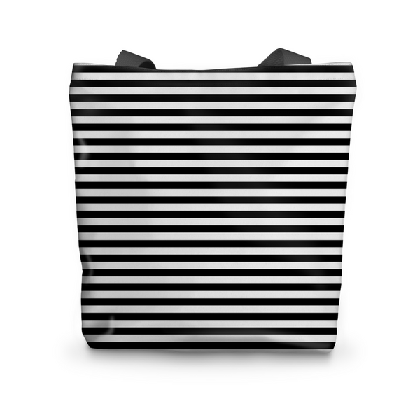 "Canvas Tote, Black + White Stripes Canvas Tote Bag 17""x17"" - LuluBee+Kewi"