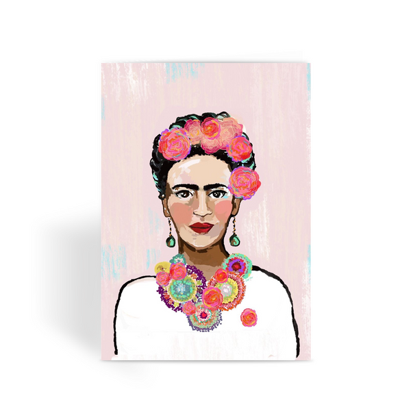 Frida Khalo Painted Pink,  by Catherine Cortes Greeting Card - LuluBee+Kewi