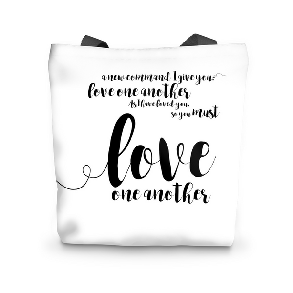 "Canvas Tote, John 13:34, Canvas Tote Bag Tote Bag 17""x17"" - LuluBee+Kewi"