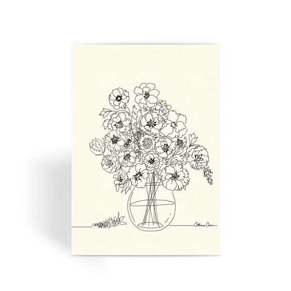 Flowers for you in a Vase Illustration Greeting Card - LuluBee+Kewi