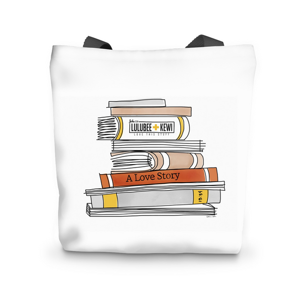 Canvas Tote, Books Illustration by Catherine Cortes Tote Bag - LuluBee+Kewi
