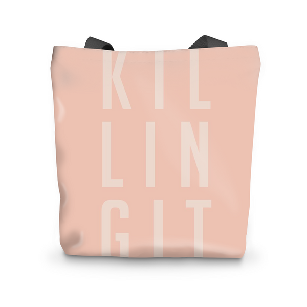 "Canvas Tote, Killing It, in Blush, Canvas Tote Bag Tote Bag 17""x17"" - LuluBee+Kewi"