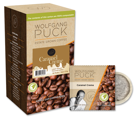 Reunion Island Compostable Pods - Wolfgang Puck Creme Caramel [18 pack]