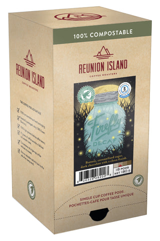 Not Keurig Compatible: Reunion Island 100% Compostable Pods - Firefly Decaf [16 pack]