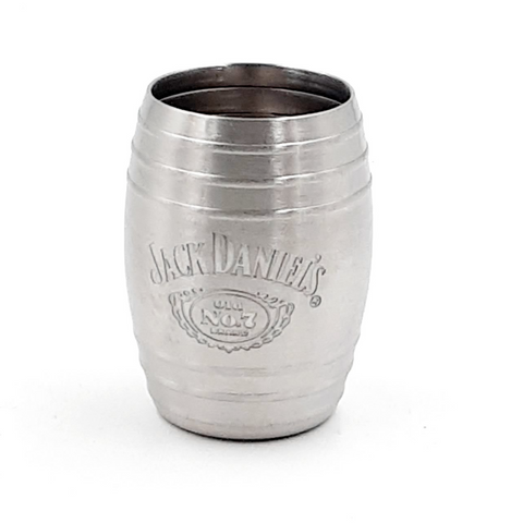 Jack Daniel's Barrel Stainless Steel Shot Glass Etched Swing Cartouche Logo 2oz