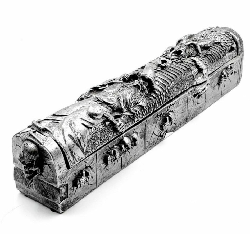 Magician and beast metal chest incense burner