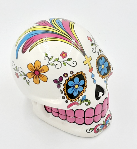 White Day Of The Dead Sugar Skull Money Bank #2271