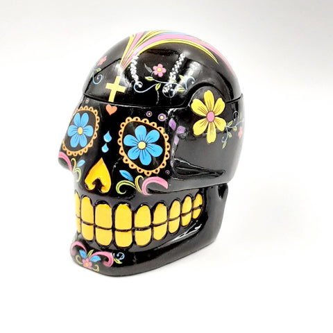 Black Day of the Dead Sugar Skull Mexican Dia De Los Muertos Trinket Box #2167