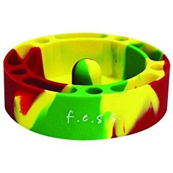 F.e.s.s. Fess Silicone Premium AshTray w/ Glass Friendly Tapping Center Rasta, , fessonline, FESSONLINE