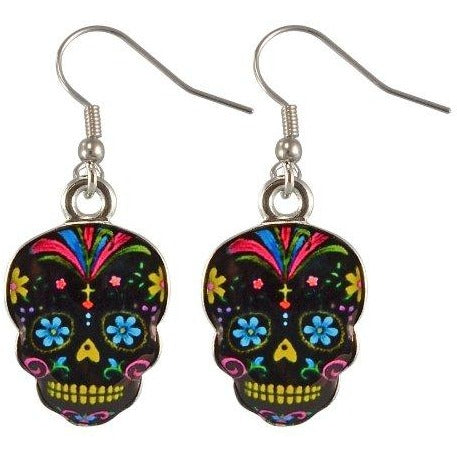 Day Of The Dead Sugar Skull Earrings - Assorted Colors, , fessonline, FESSONLINE