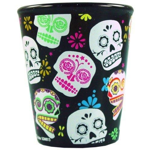 Day Of The Dead Sugar Skulls Shot Glass-shotglass, , fessonline, FESSONLINE