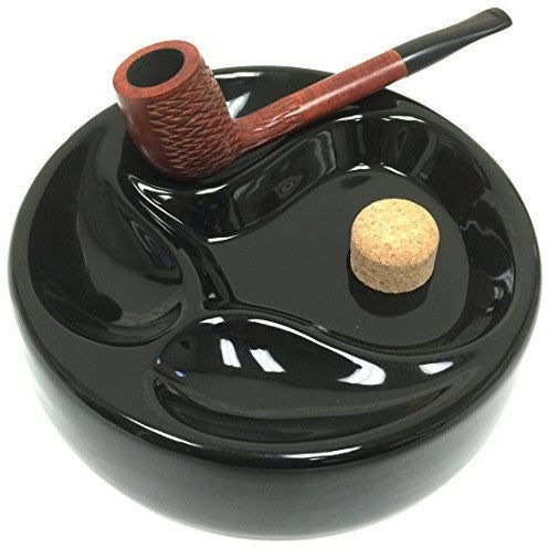 Sigara Ceramic Tobacco Pipe Ashtray with Cork Knocker and 3 Pipe Stand Large