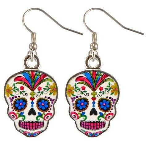 Day Of The Dead Sugar Skull Earrings -White