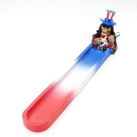"10.5"" Skeleton Incense Burner - Red, White, & Blue  #2466"