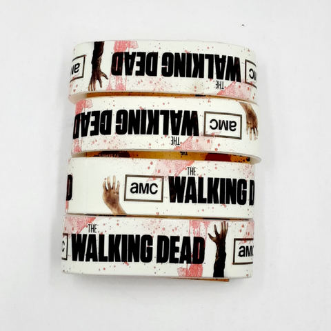 AMC The Walking Dead Bloody Splattered Logo Bracelet / Wristband 4pk