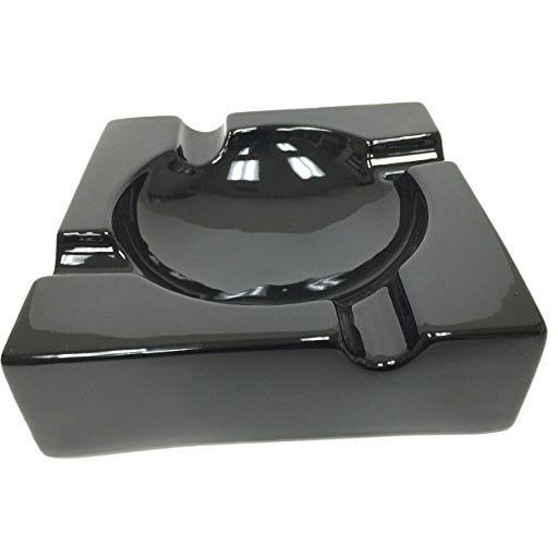 "8"" Black Ceramic Cigar Ashtray for Patio / Outdoor Use (4 Cigar Rest)"