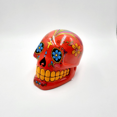 Day of the dead sugar skull money bank (Red)