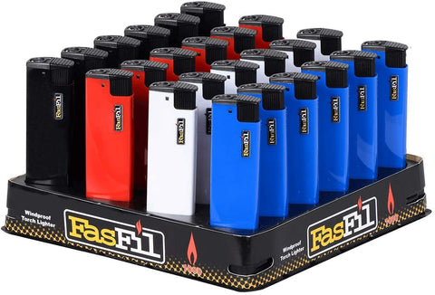 Fasfil Disposable Single Torch Lighter Soild Colors (24 Piece)