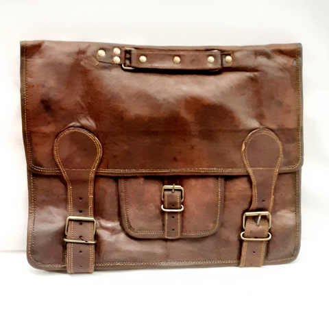 Vintage Leather Laptop Bags for Men Full Grain Large Leather Messenger bag for men 18 inches
