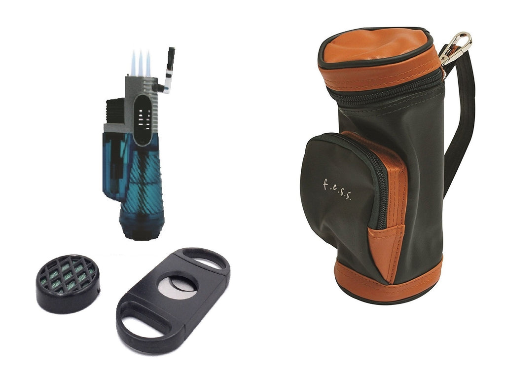 F.e.s.s. Fess Golf Gift Set Mini Golf Bag Humidor with Humidifier Torch Lighter and Cutter, , FESSONLINE, FESSONLINE