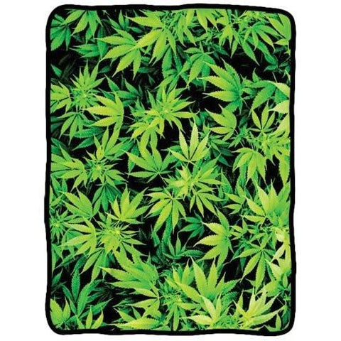 "Hemp Leaf Signature Fleece Blanket 45""x60"""