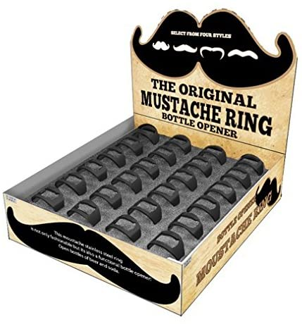 24 Mustache stainless steel ring bottle opener