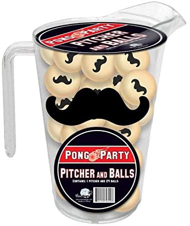 Mustache pitcher and balls pong party