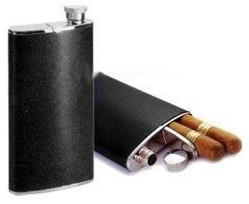 "Cigar Case Flask Combo Hip Flask (4 Oz) w/ Cigar Holder (6-1/2""), , m4wholesale.com, FESSONLINE"