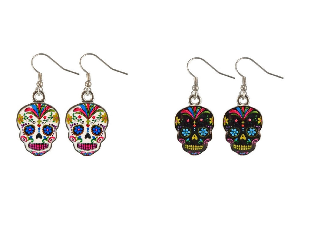 Set of 2 Day Of The Dead Sugar Skull Earrings, , FESSONLINE, FESSONLINE