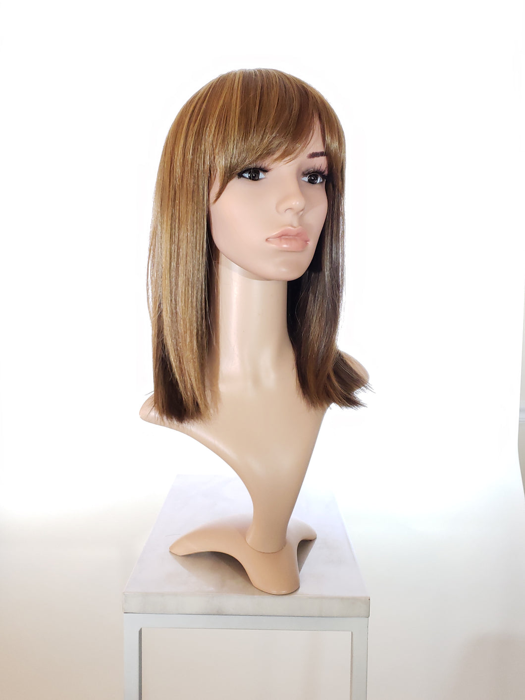 Brown Mix Medium Length Bob with Bangs Fashion Wig HSMSS27