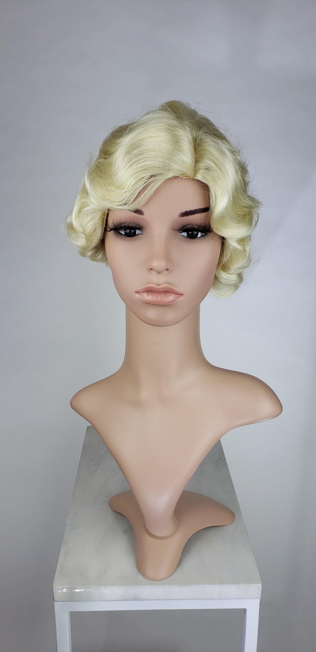 Pose Wigs Blonde Short Finger Wave Vintage Curls Costume Fashion Wig FROA44