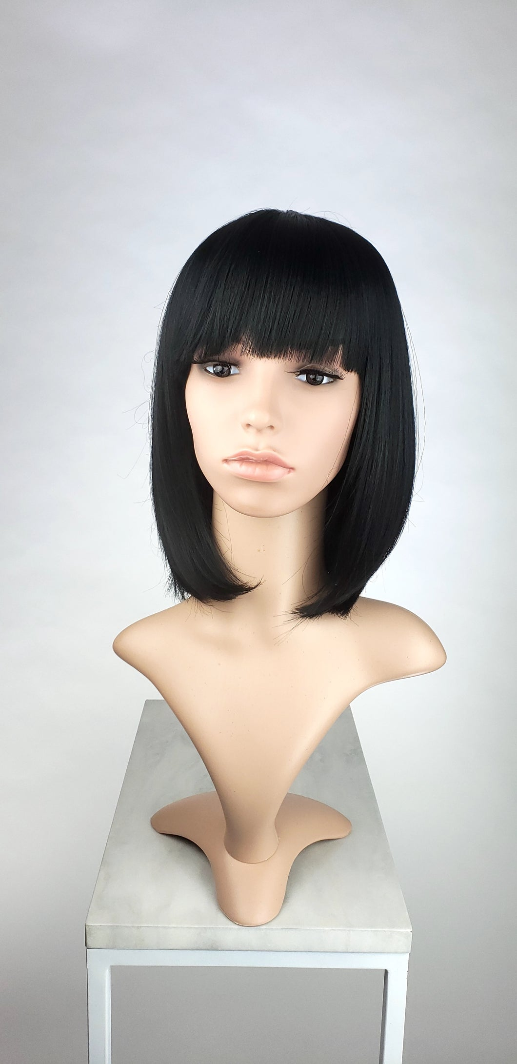 Black Medium Length Straight Bob with Bangs Fashion Wig HSDAR1