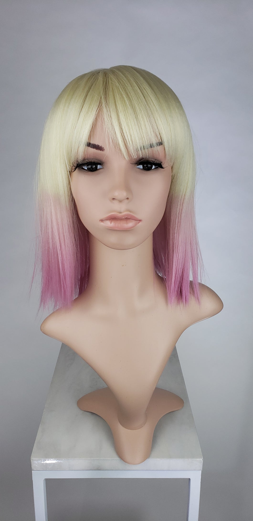 Blonde with Pink Tips Medium Length Straight Bob with Bangs Fashion Wig HSDAR44 - Custom Dyed