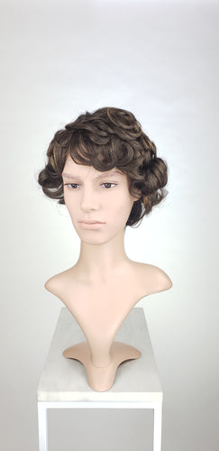 Pose Wigs Mens Dark Brown Short Curly 100% Human Hair Wig HFTES11