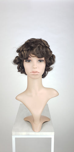Pose Wigs Brown with Highlights Short Curly 100% Human Hair Wig HFTES11