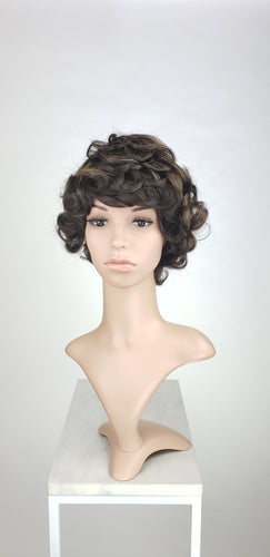 Pose Wigs Dark Brown with Highlights Short Curly 100% Human Hair Wig HFTES12