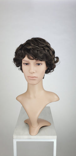 Pose Wigs Mens Dark Brown Short Curly 100% Human Hair Wig HFTES12