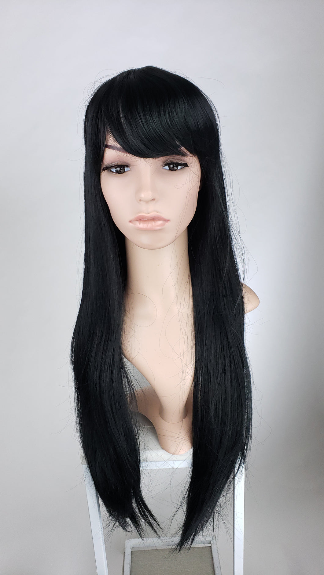 Pose Wigs Black Long Straight with Bangs Fashion Wig HSAPR1