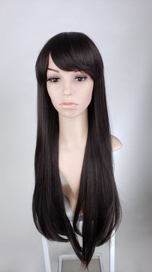 Pose Wigs Dark Brown Long Straight with Bangs Fashion Wig HSAPR10