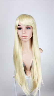 Pose Wigs Blonde Long Straight with Bangs Fashion Wig HSAPR44