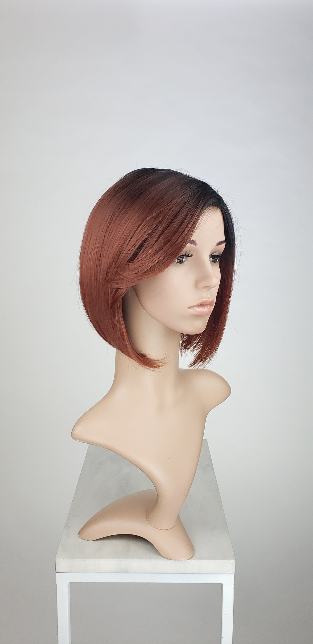 Red Ombre Short Straight Bob with Bangs Fashion Wig HSBRL110