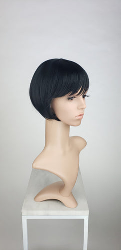 Black Short Straight Bob with Bangs Fashion Wig HSPET1