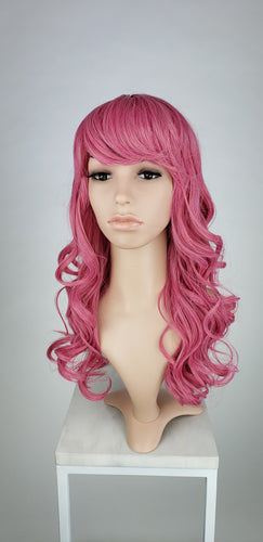 Bright Pink Long Curly with Bangs Fashion Wig HSRAE297