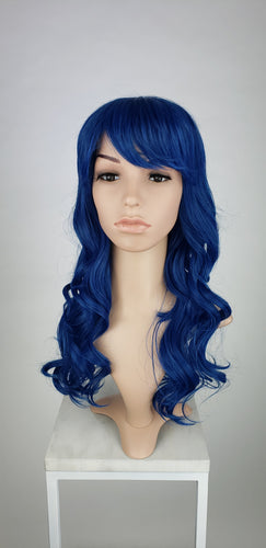 Dark Blue Mix Long Curly with Bangs Fashion Wig HSRAE299