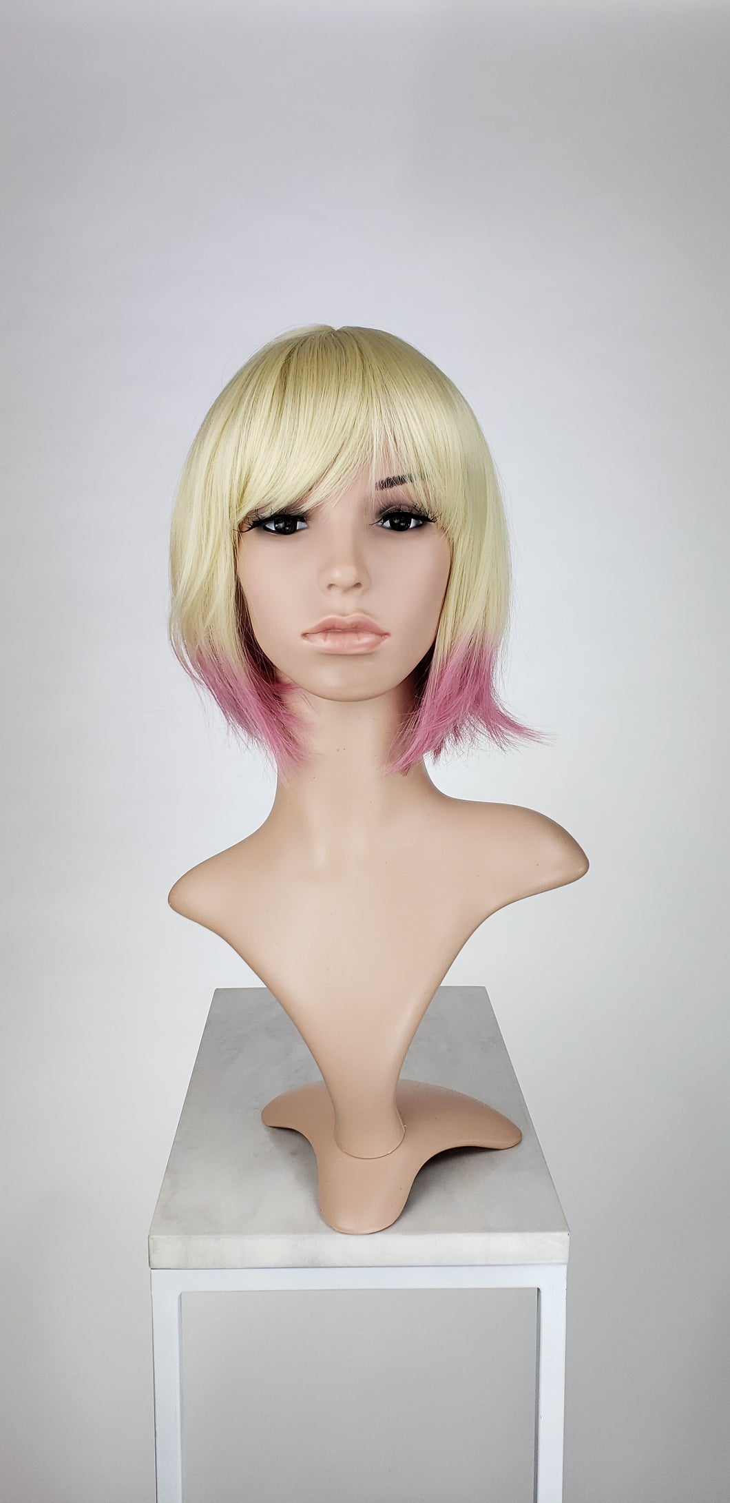 Blonde with Pink Tips Short Straight Bob with Bangs Fashion Wig HSRAZ44Custom