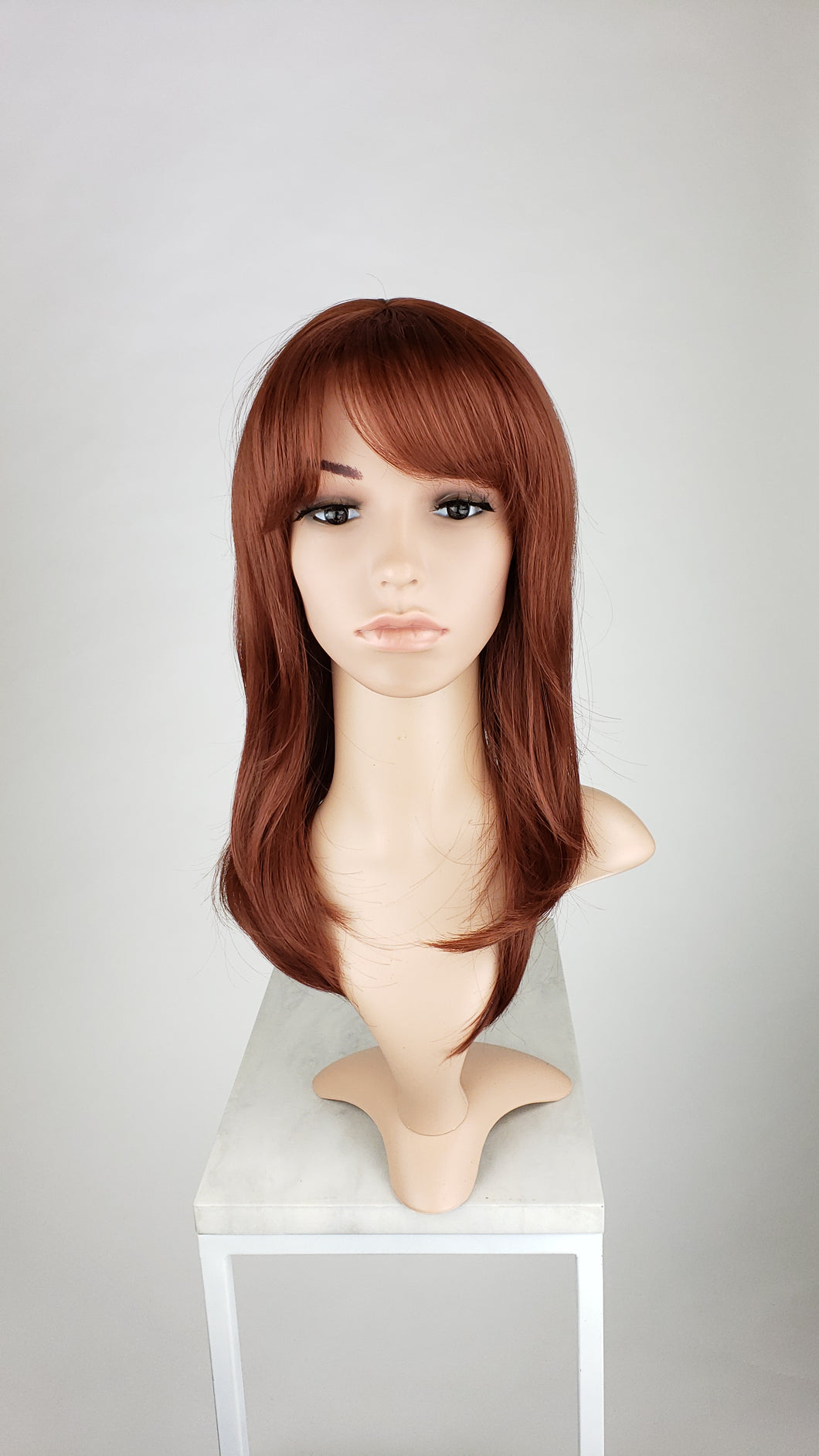 POSE WIGS Red Long Straight Hair with Bangs Fashion Wig - Large 23